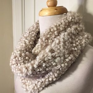 Cejon tan cream textured circle scarf